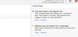 Google AdWords Notifications