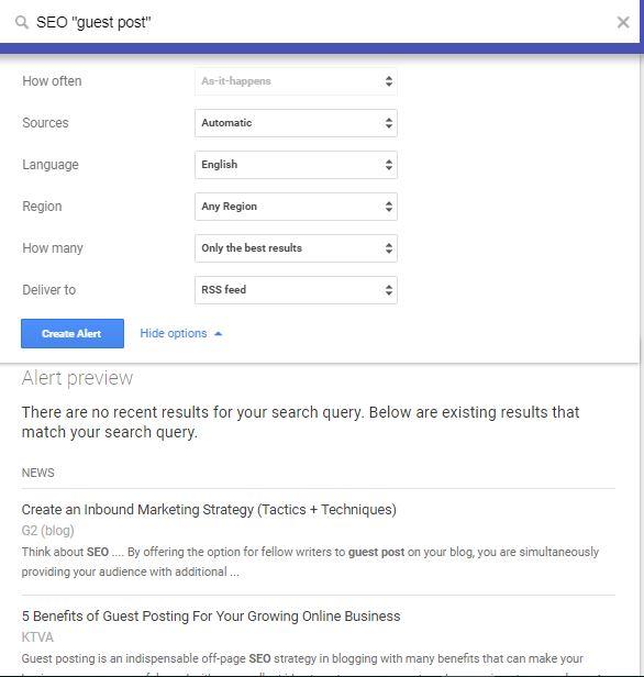 Google Alert for guest posting