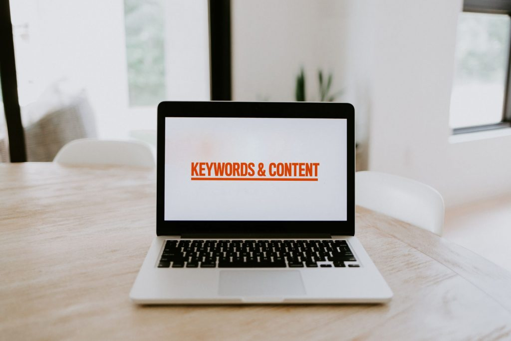 Keyword and content' on a laptop
